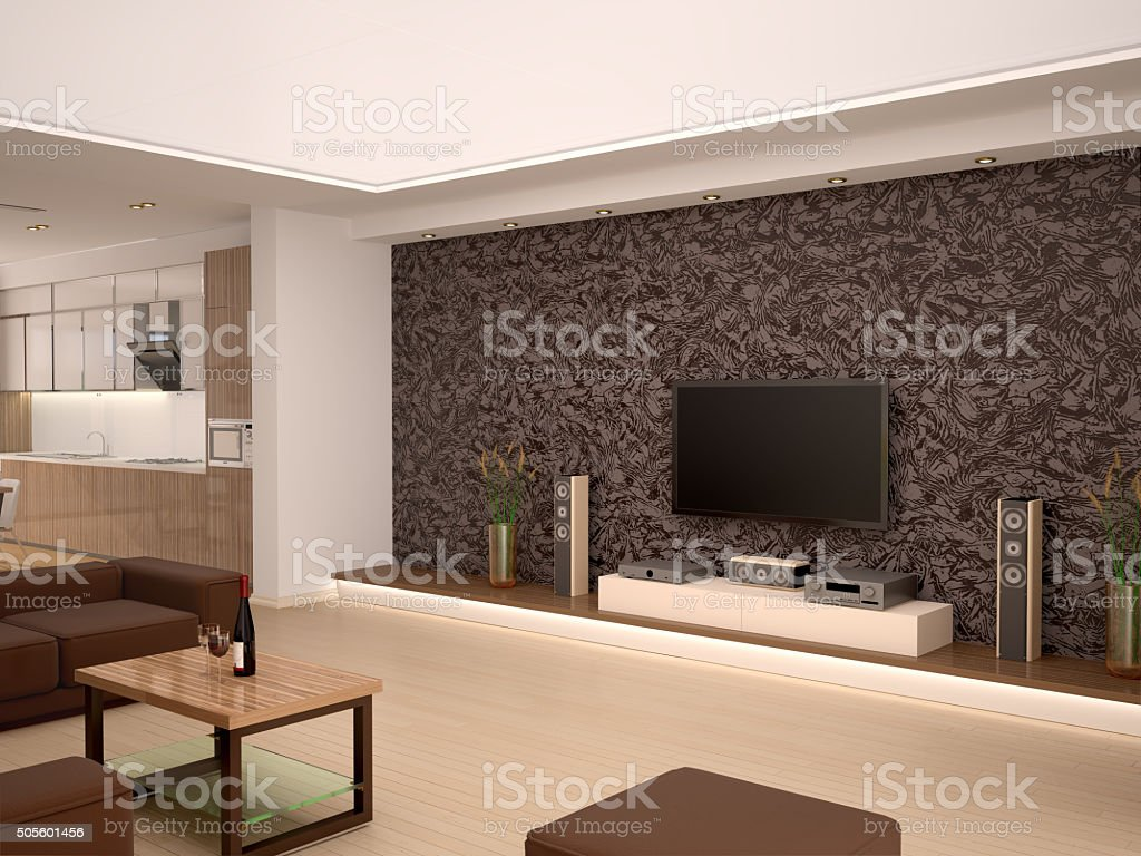 illustration of Interior modern home theater in a cozy room stock photo