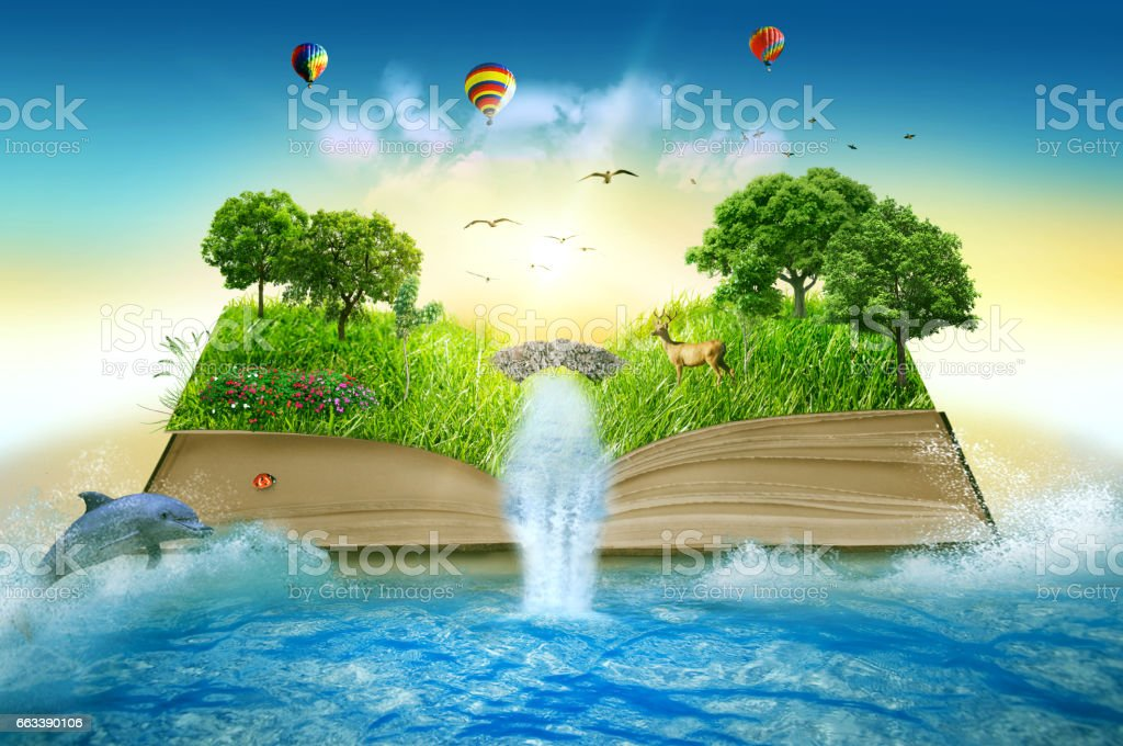 Illustration of magic opened book covered with grass trees and waterfall surround by ocean stock photo