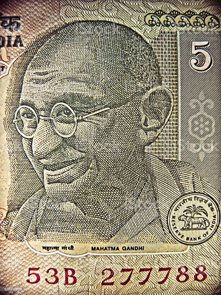 Illustration of Mahatma Gandhi on Indian currency, 5 (five) Rupe stock photo