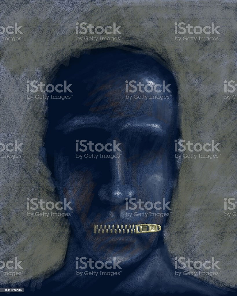 Illustration of Man with Lips Zippered Shut stock photo
