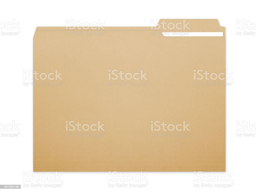 Illustration of manila folder with a piece of paper in it stock photo