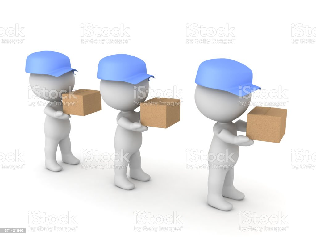 3D illustration of many deliverymen holding packages stock photo