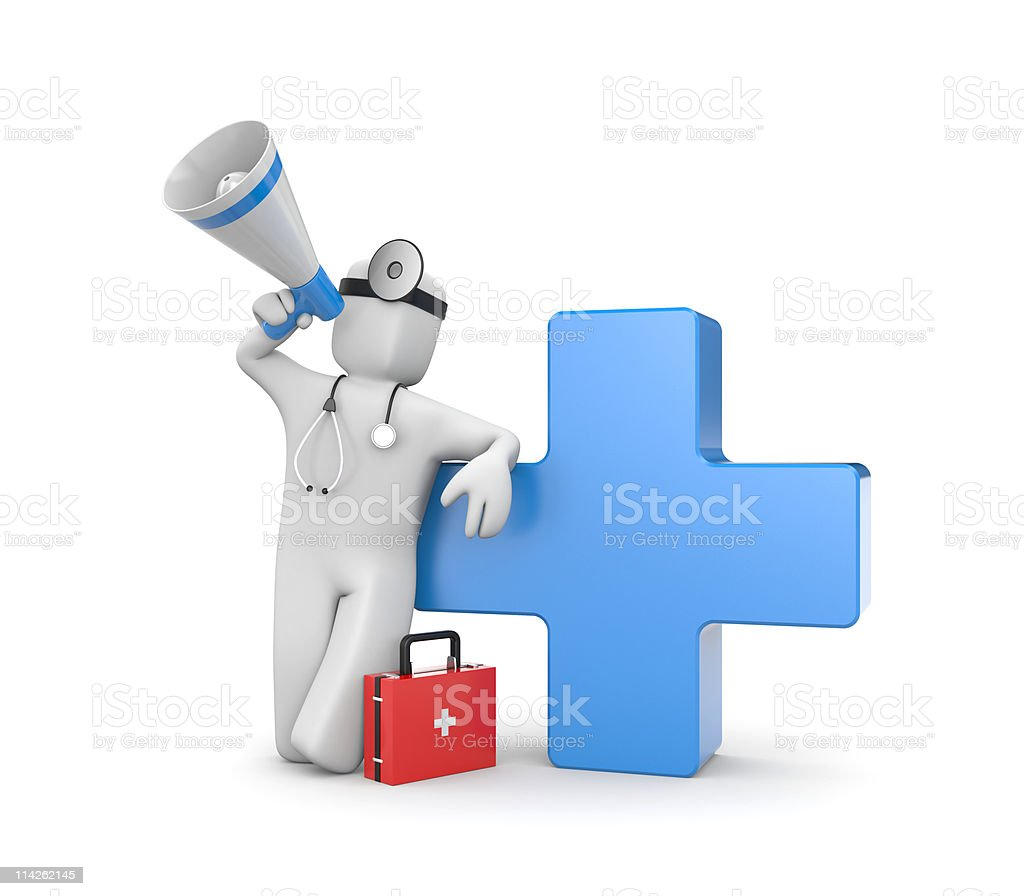 Illustration of medical services with a blue cross royalty-free stock photo
