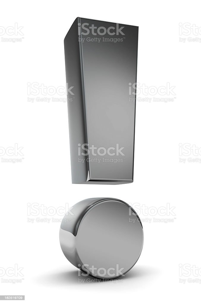 Illustration of metal exclamation point on white background stock photo