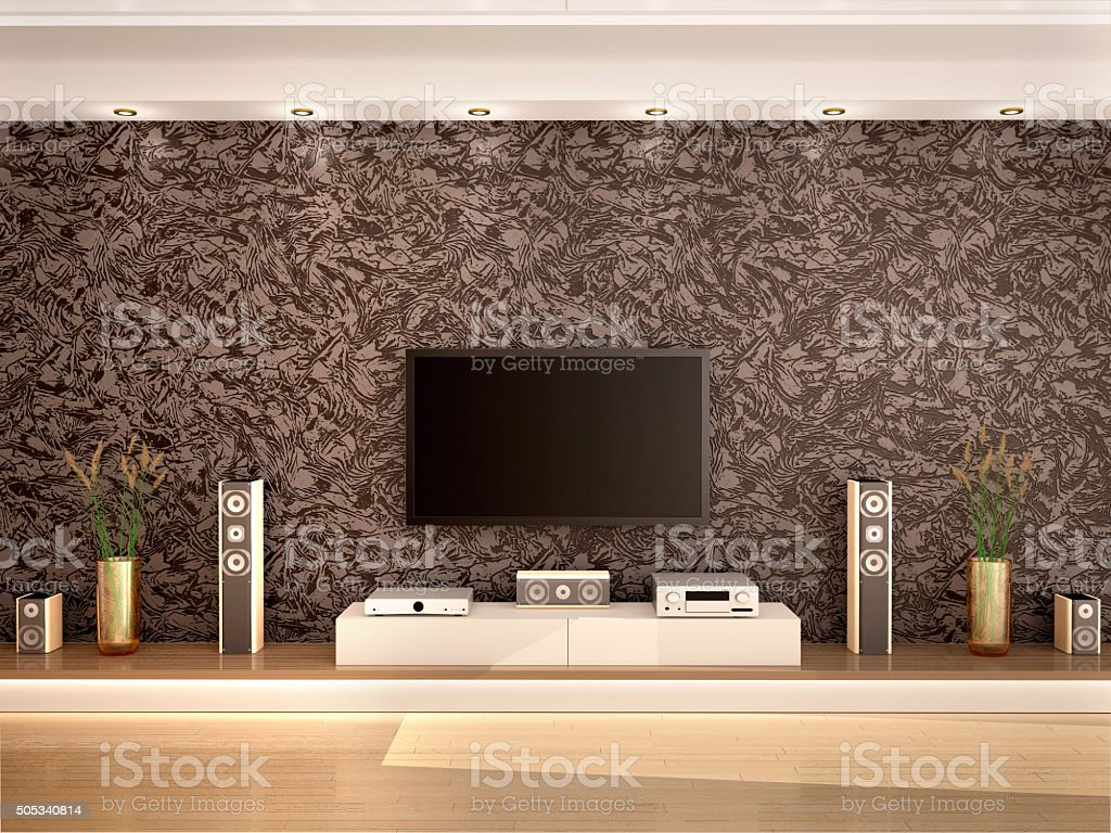 illustration of modern home theater stock photo