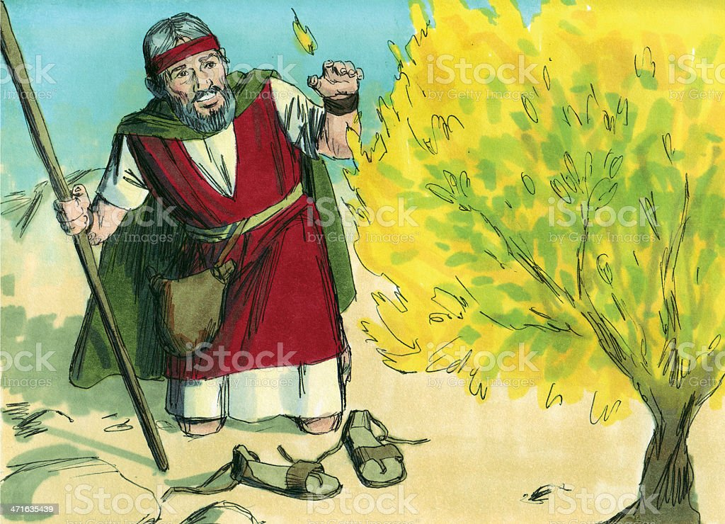 Illustration of Moses and the burning bush stock photo