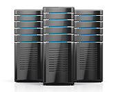 3D illustration of network workstation servers.