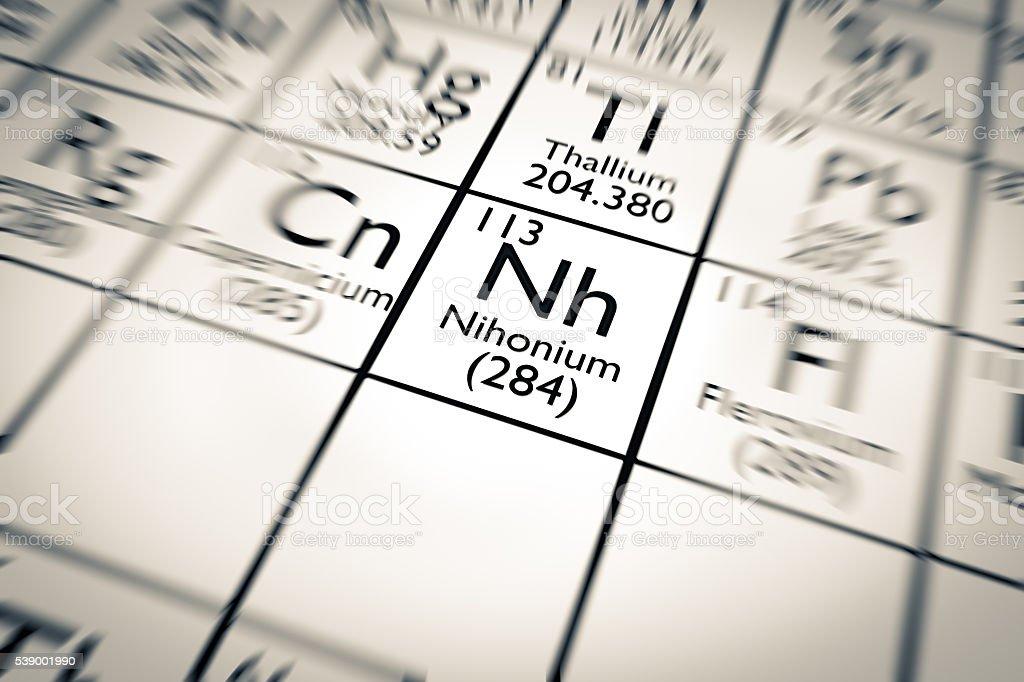 3D illustration of Nihonium chemical element stock photo