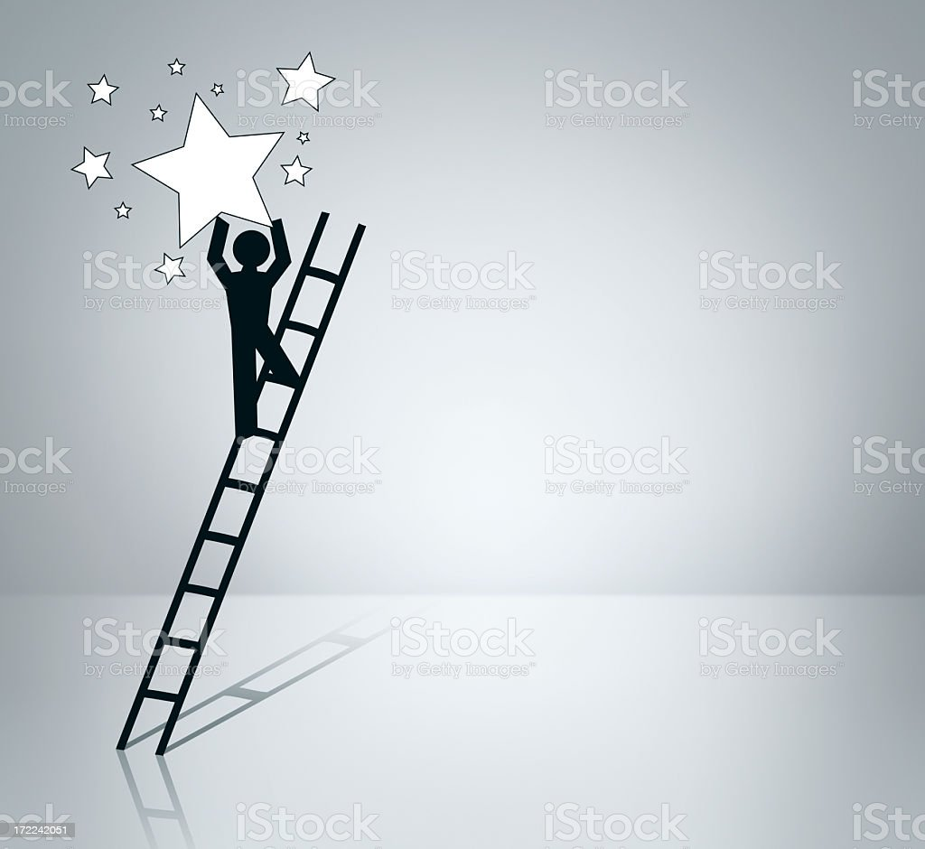 Illustration of person climbing ladder reaching for stars royalty-free stock photo