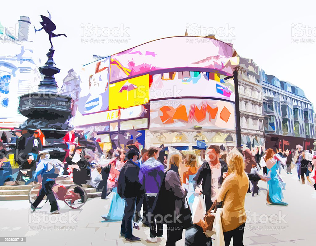Illustration of Piccadilly Circus stock photo