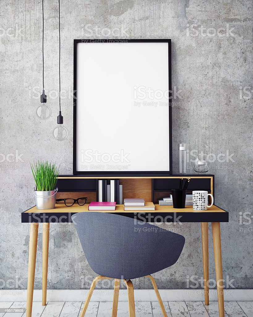 3D illustration of poster frame template, workspace mock up, background stock photo
