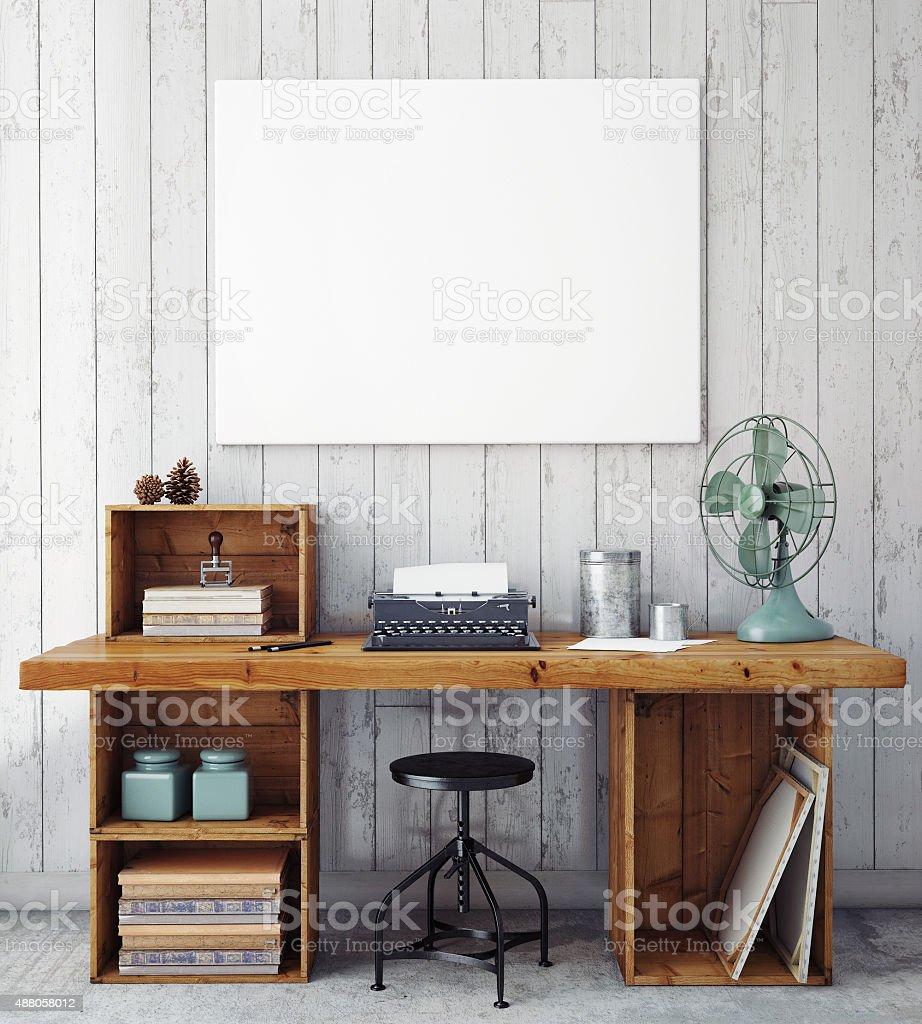 3D illustration of poster frame template, workspace mock up stock photo