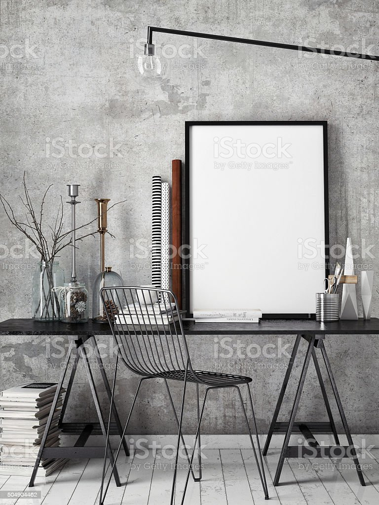 3D illustration of poster frame template, workspace mock up stock photo