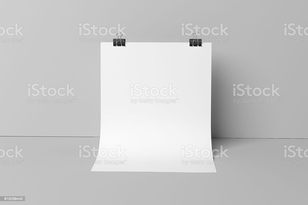 3D illustration of posters in with binder clips stock photo