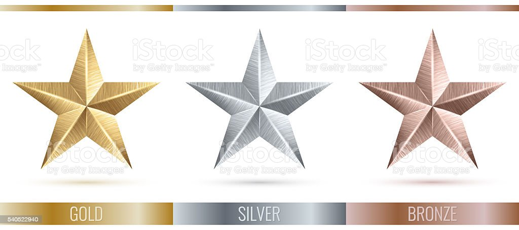 illustration of realistic metallic 3 stars stock photo