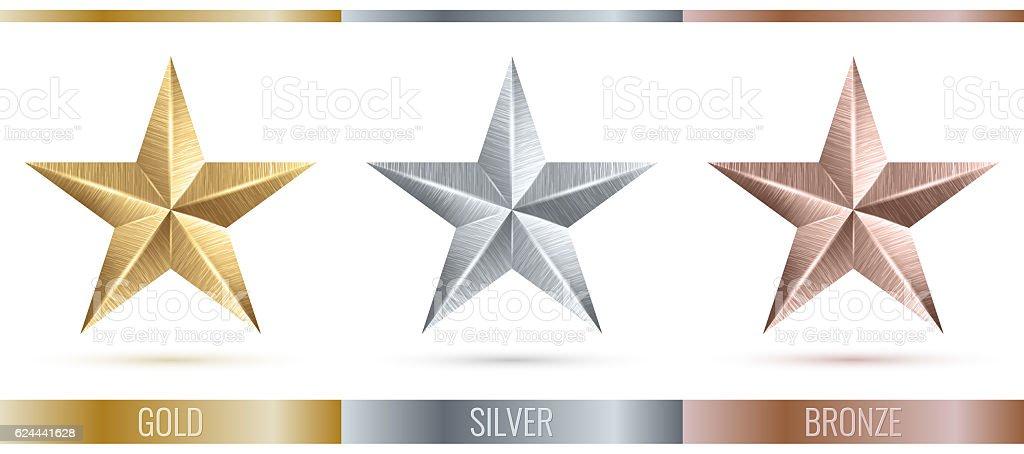 illustration of realistic metallic 3 stars stock photo
