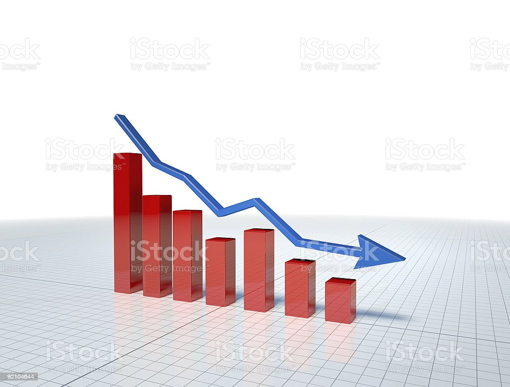 Illustration of red business graph with blue arrow royalty-free stock photo
