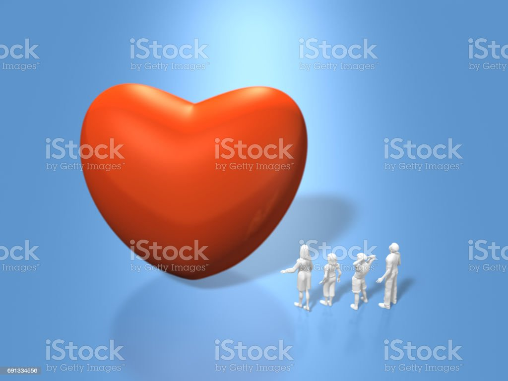 3D illustration of red Heart stock photo