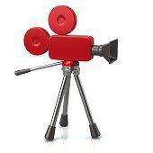 Illustration of red movie camera