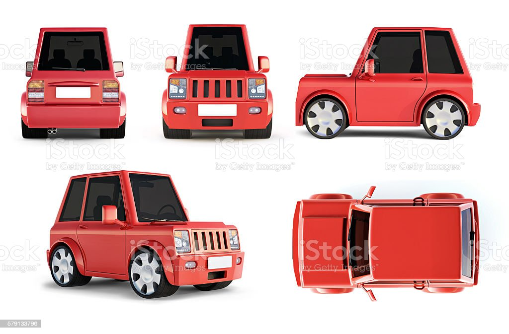 3D illustration of red SUV cartoon car all views stock photo