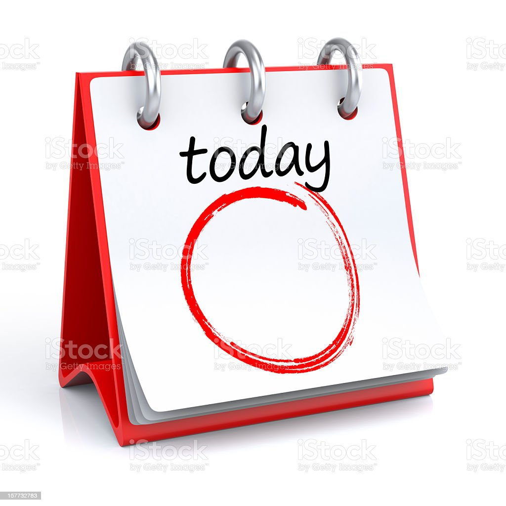 Illustration of red table calendar with a circle on today stock photo