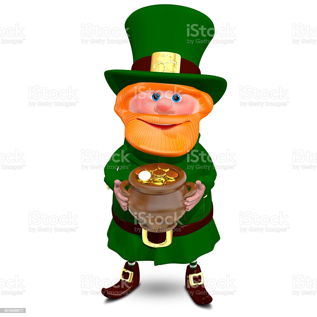 3D Illustration of Saint Patrick with a Pot of Gold stock photo