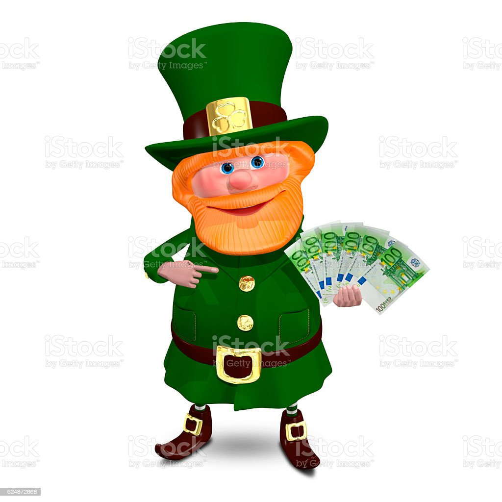 3D Illustration of Saint Patrick with Euro Veer stock photo