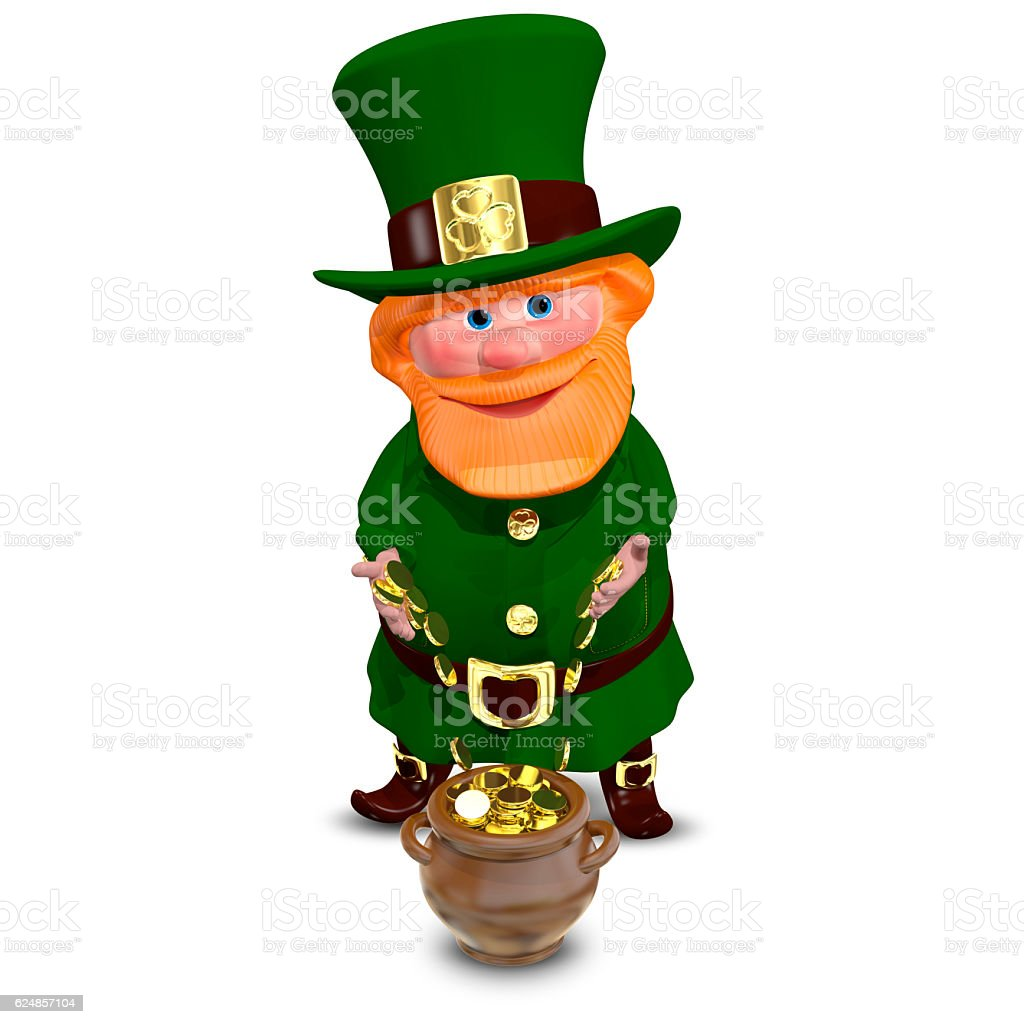 3D Illustration of Saint Patrick with Gold Coins stock photo