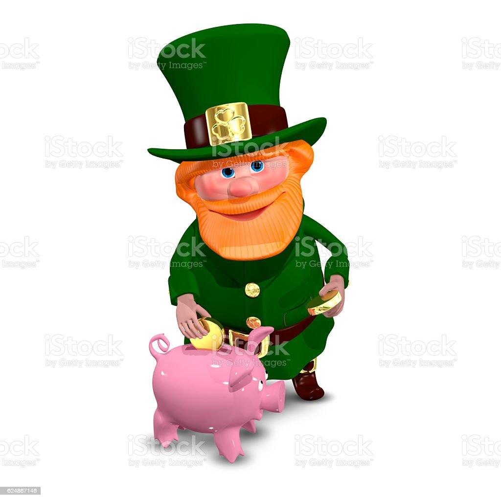 3D Illustration of Saint Patrick with Piggy Bank stock photo