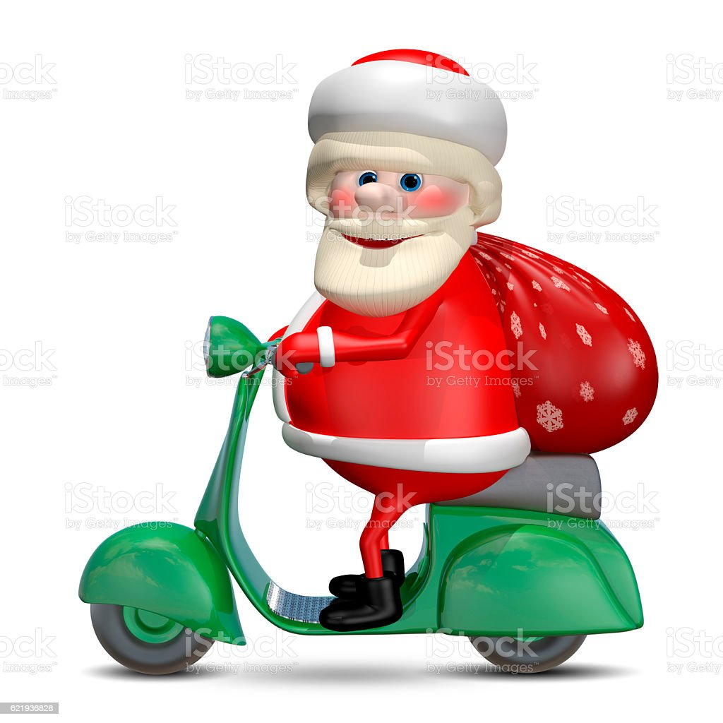 3D Illustration of Santa Claus on a Motor Scooter stock photo