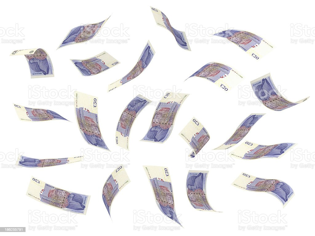 Illustration of several pound notes flying stock photo