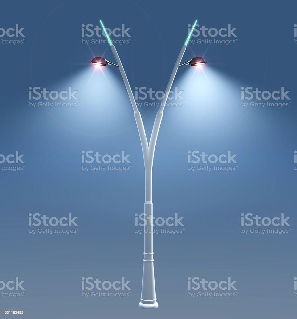 3D illustration of Shining Lamp Post. stock photo
