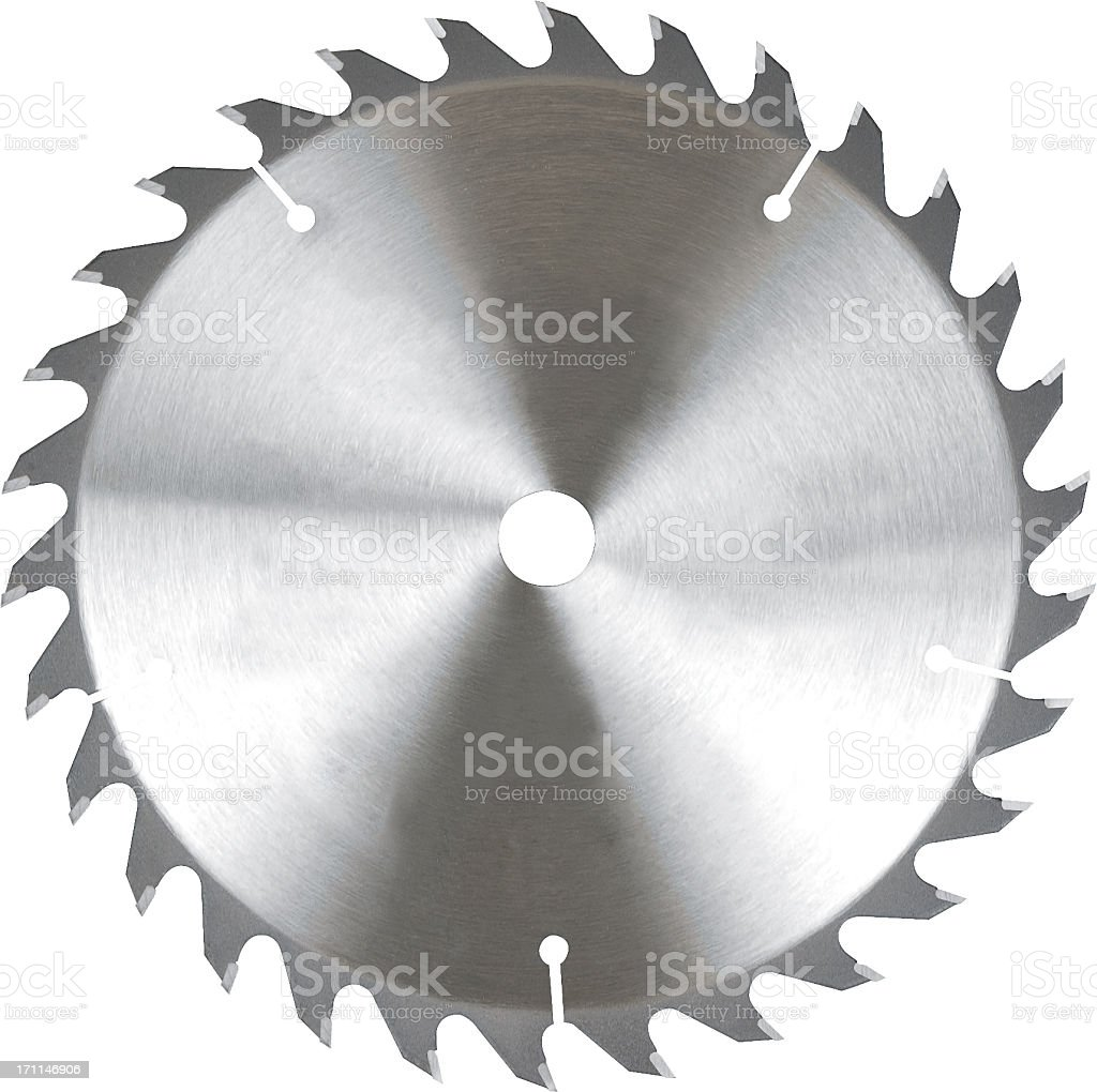 Illustration of silver jagged saw blade on white background stock photo