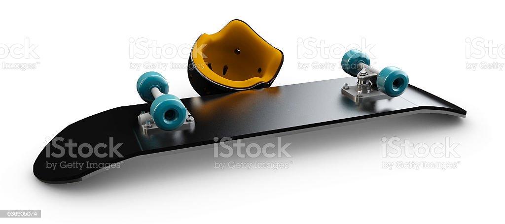 Illustration of Skateboard whit skate helmet deck isolated stock photo