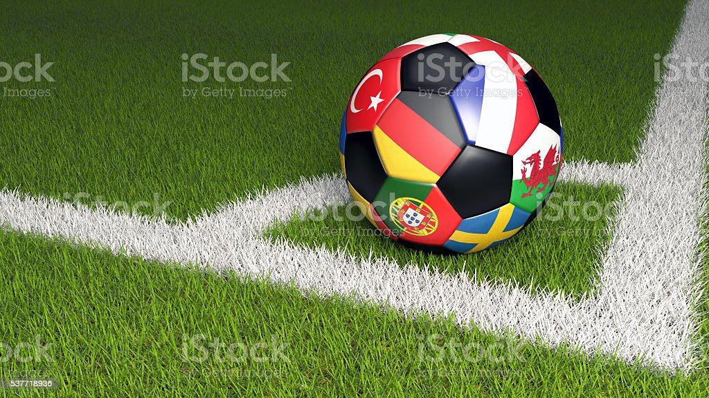 3D illustration of soccer ball on green grass stock photo