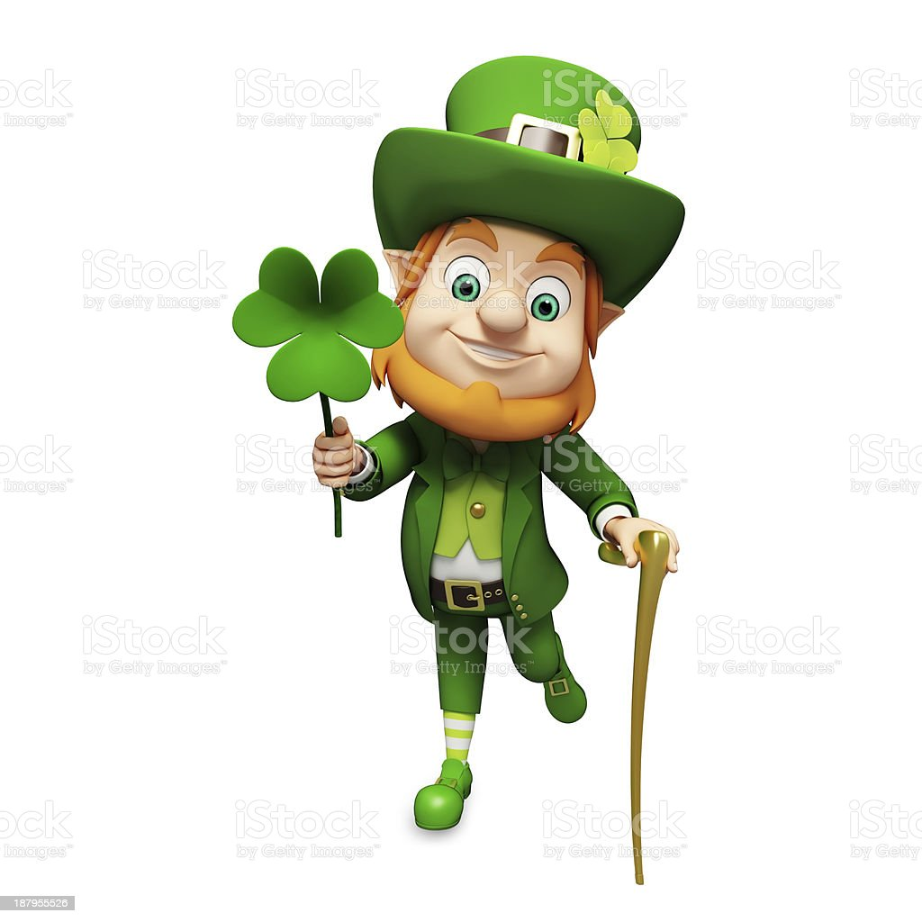 3D illustration of St. Patrick's Day leprechaun stock photo