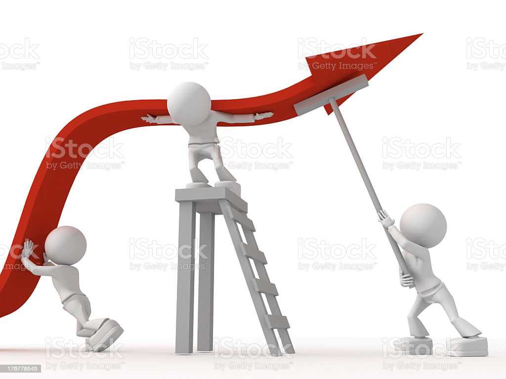 Illustration of teamwork with three figures pushing arrow royalty-free stock photo