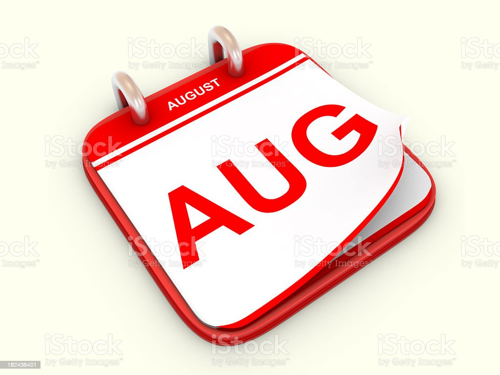 Illustration of the August calendar month in red and white stock photo