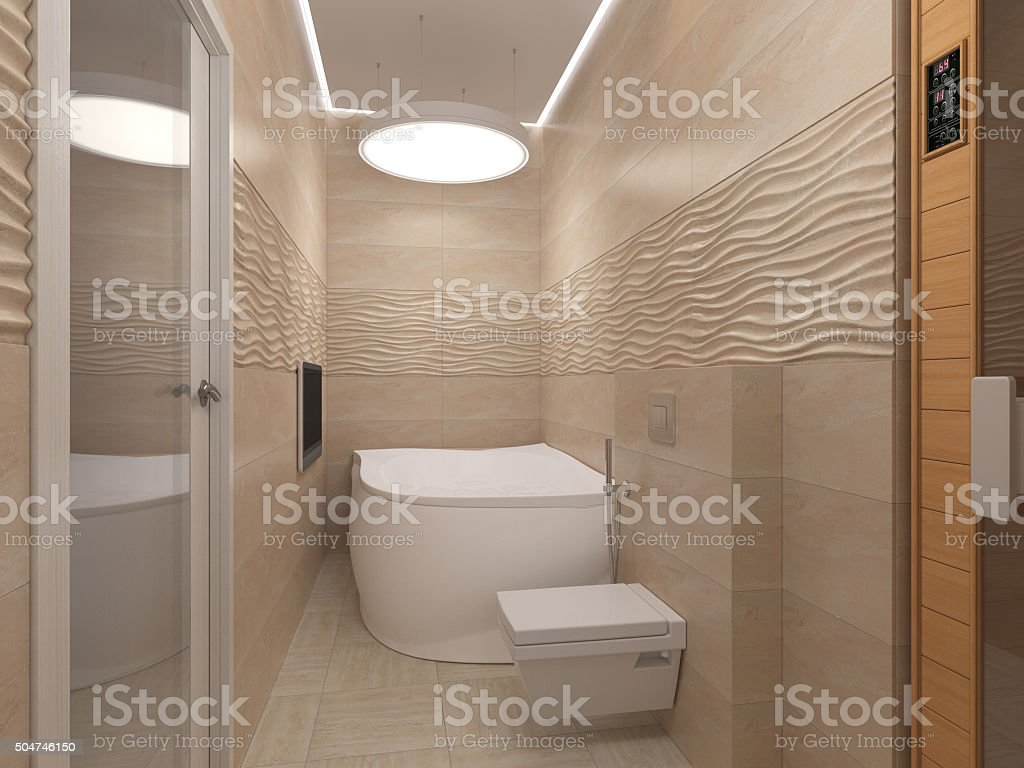 3D illustration of the bathroom in beige tones stock photo