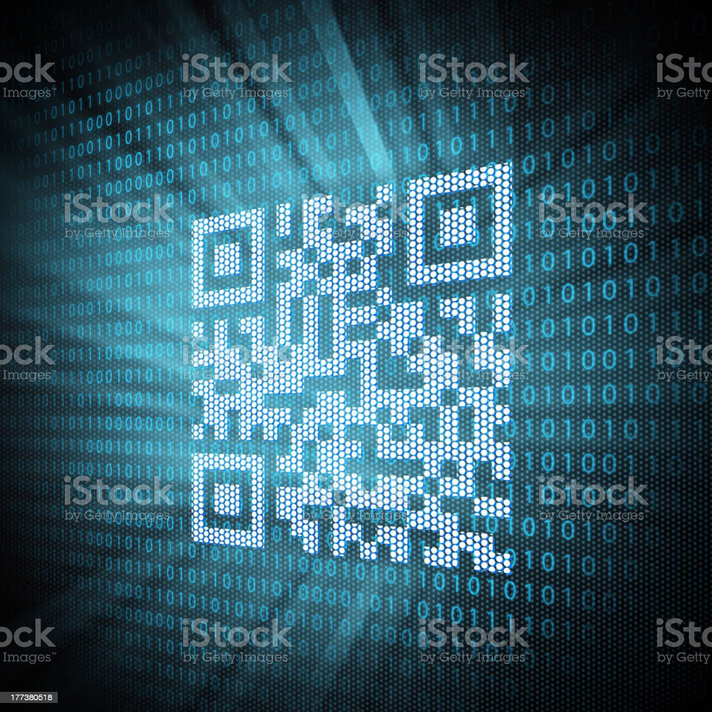 Illustration of the code behind the QR code stock photo