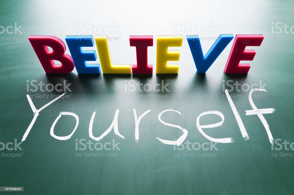 Illustration of the concept Believe Yourself royalty-free stock photo