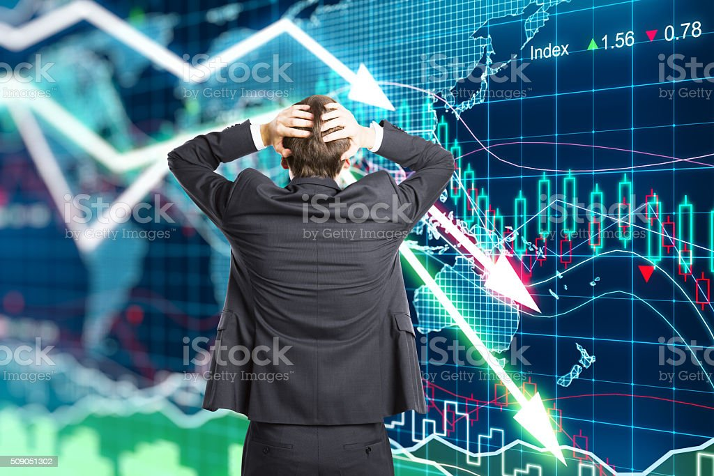 Illustration of the crisis concept with a businessman in panic stock photo