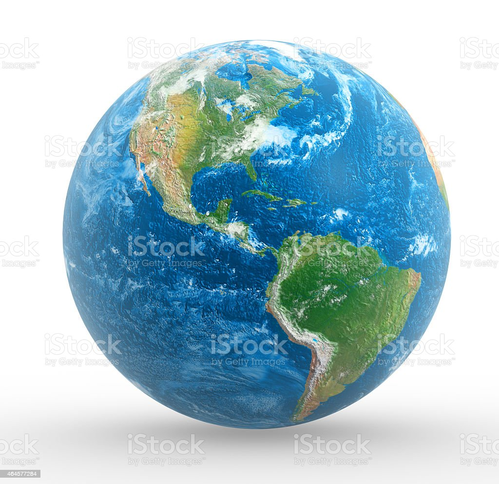 3D illustration of the Earth on white background stock photo