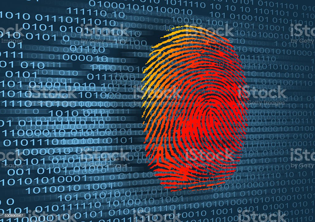Illustration of the finger print and binary code stock photo