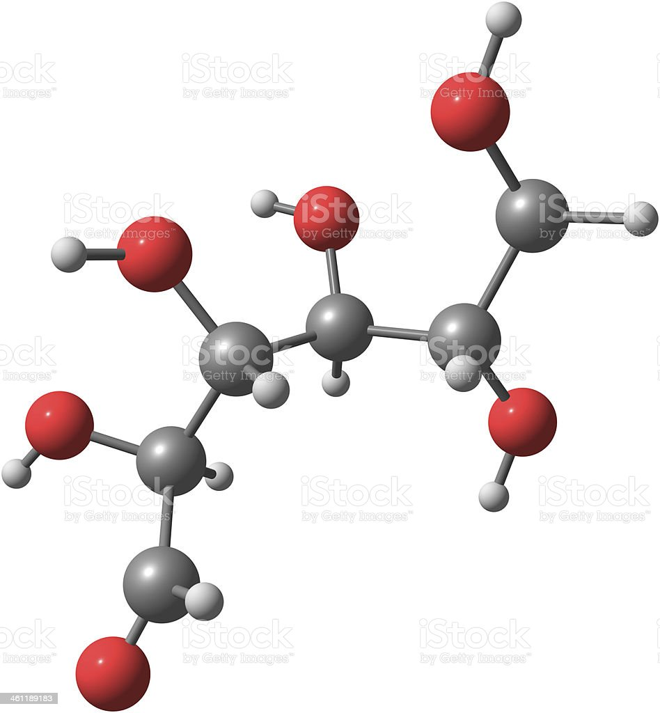 3D illustration of the molecular structure of glucose stock photo