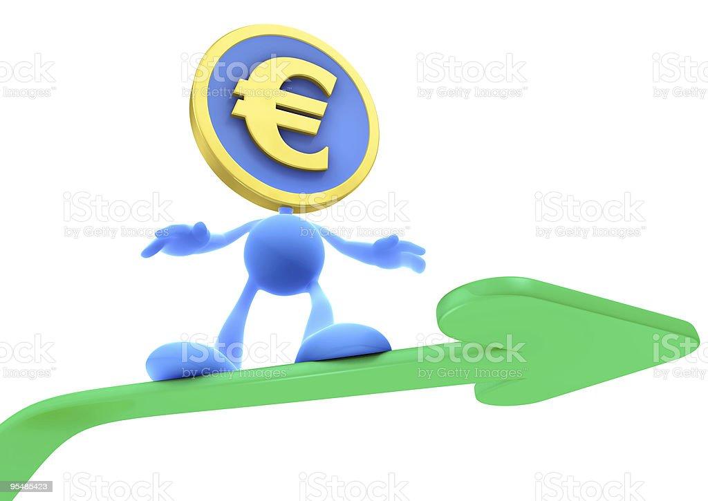 Illustration of the Rising Euro royalty-free stock photo