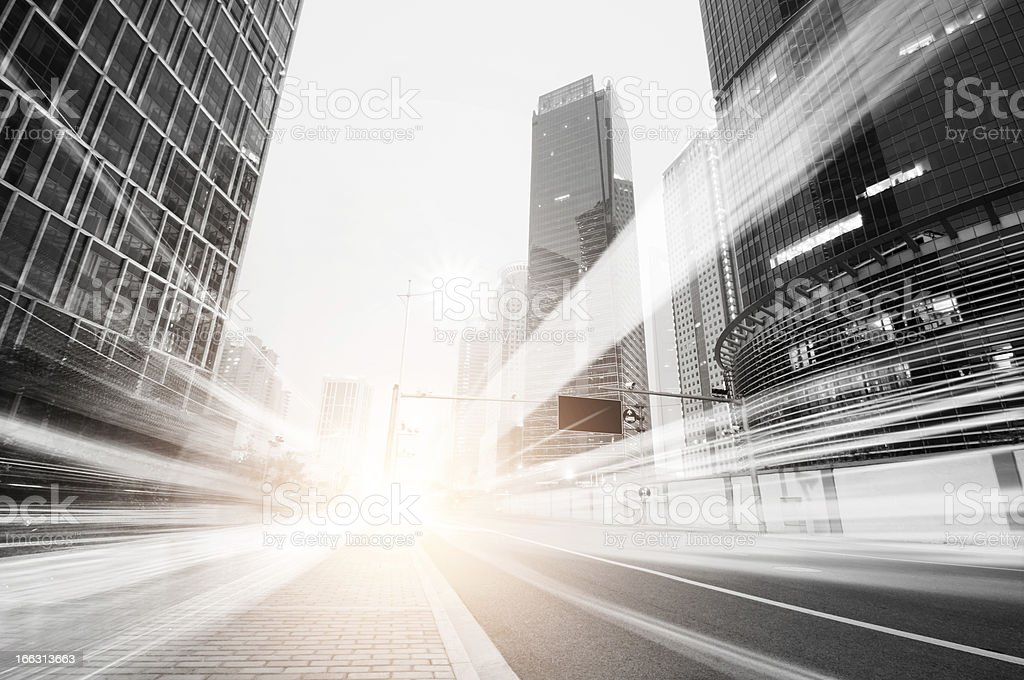 Illustration of the speed of light in bright, in the city stock photo