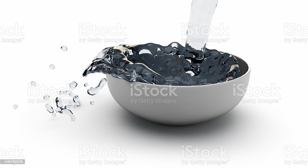 3D illustration of the water in a bowl stock photo