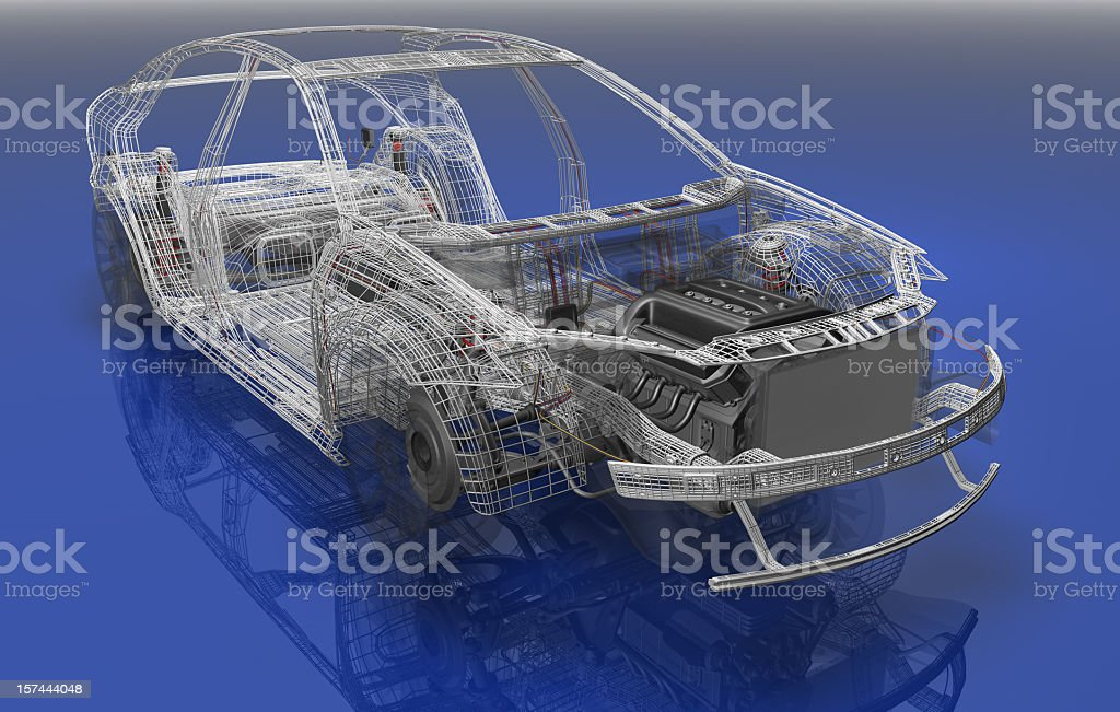 Illustration of the wireframe of a sedan car stock photo