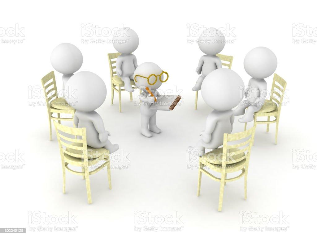 3D illustration of therapist helping patients of twelve step help program stock photo